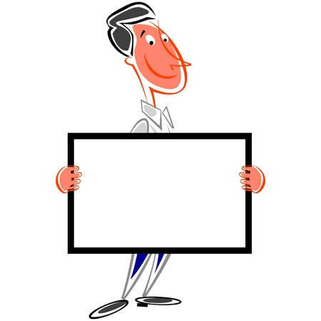 Smiling man holding signboard Vector
