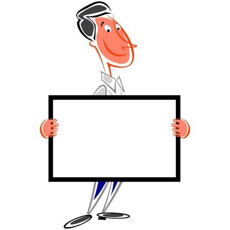 Smiling man holding signboard Illustration