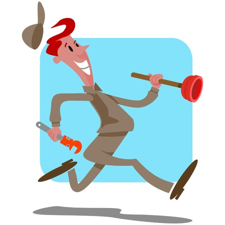 Plumber with plunger running Stock Illustratie