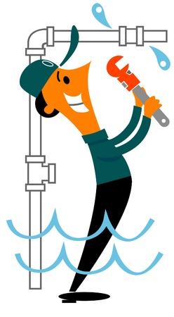 klempner: Klempner mit Befestigung Wasser Leck Rohrzange