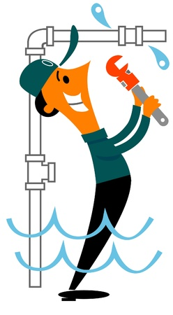 plumber with pipe wrench fixing water leak Ilustracja