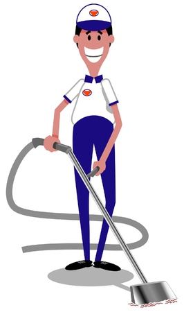 Cartoon image of happy carpet cleaner