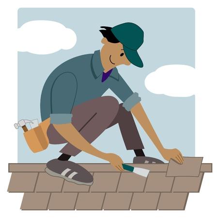 Cartoon dakbedekking werknemer zetten shingles op een dak