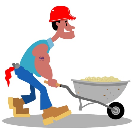 roofer: Cartoon construction worker pushing a wheelbarrow of sand