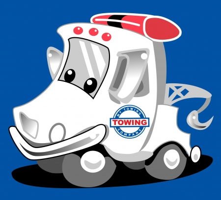 Little tow truck mascot cartoon character ready for business Stock Illustratie