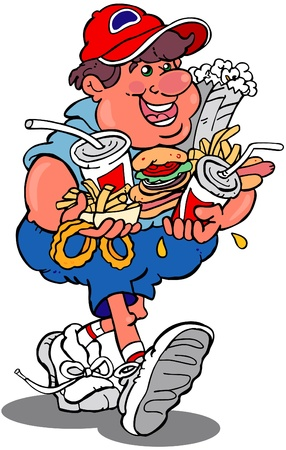 Clip art type cartoon of man carrying fast food Vector