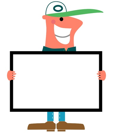 Cartoon image of a smiling man holding a sign Illustration