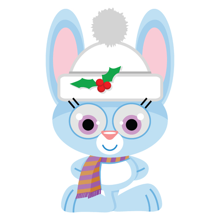 A cute smiling bunny rabbit wearing a white stocking cap, a holly berry pin and a stripped neck scarf. Blue bunny ready for Winter Holidays.