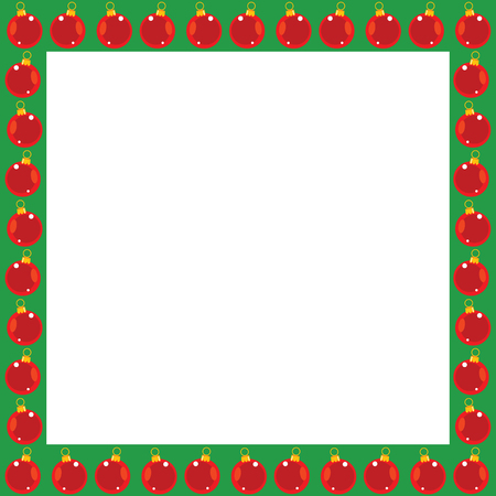 Green Christmas border with bright red bulb ornaments good for ad layout, cards, picture frame and more. Illustration