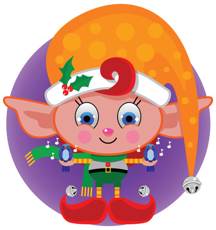 A colorful, festive Santa's little helper Elf wearing a big orange cap with polka dots, a holly berry pin holding 2 singing bluebirds and smiling big in his red shoes with jingle bell toes.