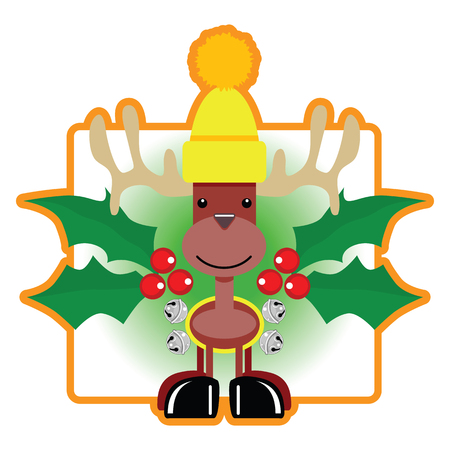a cute, adorable little holiday reindeer wearing a bright yellow stocking cap and jingle bells with large holly berries to complete this charming cartoon design.
