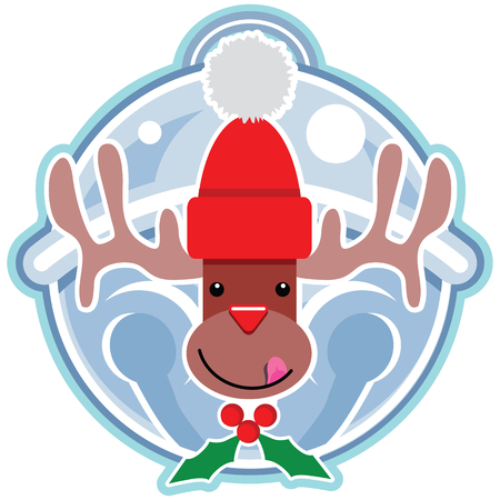 A smiling Reindeer cartoon character licking his chops sporting a bright red stocking cap on a jingle bell background with a holly berry necktie.