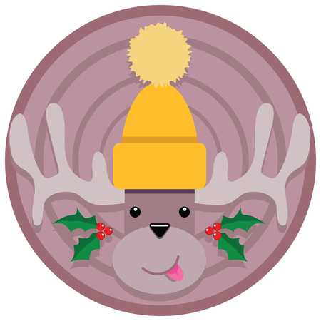 this Holiday Reindeer cartoon design can be used for a number of things including an emblem a badge a patch a round sticker and more.