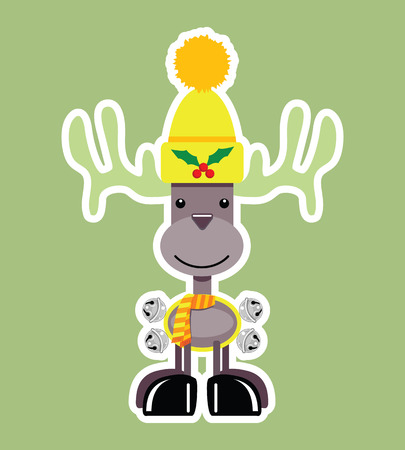 An adorable little Holiday Reindeer with a big smile wearing a bright yellow stocking cap adorned with a holly berry pin, a striped neck scarf and jingle bells harness.
