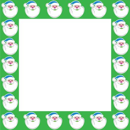 A wide green Santa Claus border featuring Santa wearing a blue cap and smiling jolly big. Ilustração