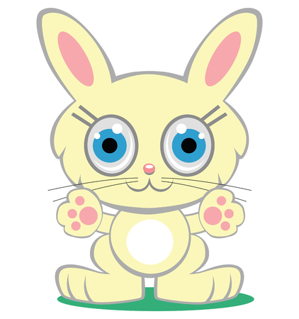 Cute yellow cartoon bunny with paws extended in a welcome gesture