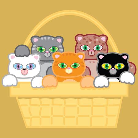 Five multi colored kittens stuffed in a picnic basket. Ilustração