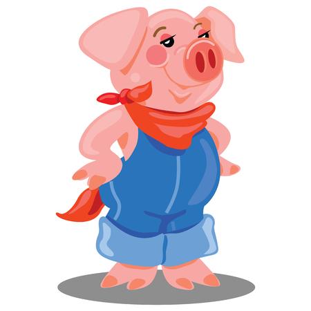 Este cerdo de granja rural confiado está de pie y con un mono y un pañuelo rojo.