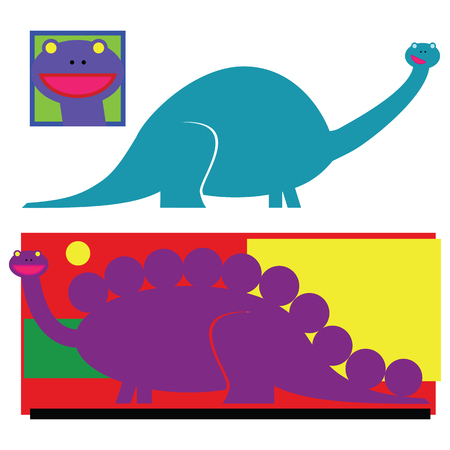 Two cartoon dinosaur graphics elements highly styiized in bright flat colors.