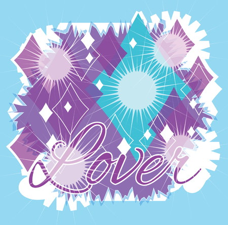 """Bright colorful graphic design with purple and aqua colored diamond shapes and starbursts. A large aqua diamond shape and the letters, Lover, spell out """" Diamond Lover """""""