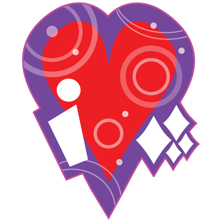"""A bright colorful purple and red Valentine design graphic. The letter """"i�, a big red heart and white diamond shapes spell out. i heart diamonds."""