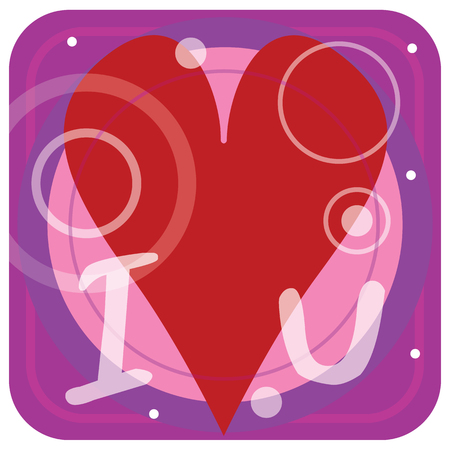A bright pink and purple graphic design image with a big red heart in the middle. Letters I and U spell, I heart u.