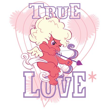 A cute cartoon valentine cupid is taking aim with a little bow and arrow. Stylized background and the words, true love.