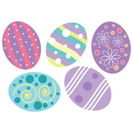 five pastel colored easter egg designs with different decorations.