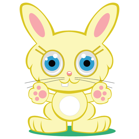 A cute, adorable yellow baby bunny rabbit cartoon character is reaching out with both paws. One single buck tooth, little smile and big blue eyes. 向量圖像