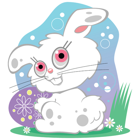 A cute white bunny rabbit with pink eyes is looking back over it's shoulder. Holding a large decorated Easter egg sitting in a field of flowers with a blue sky background.