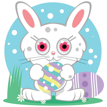 A cute white Easter Bunny character with bright eyes starring straight forward. Holding a decorated Easter egg with both paws. Standing in grass with flowers against a second egg and a blue sky background. Ilustração