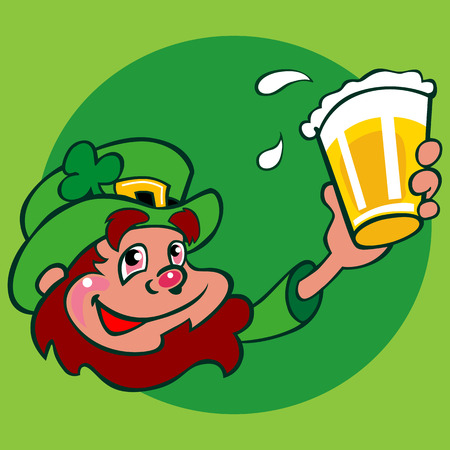 Slightly drunk leprechaun character lifting a pint of beer to toast St. Patrick's Day. He is wearing a green hat with a brim and a buckled hat band. A shamrock adorns the hat.