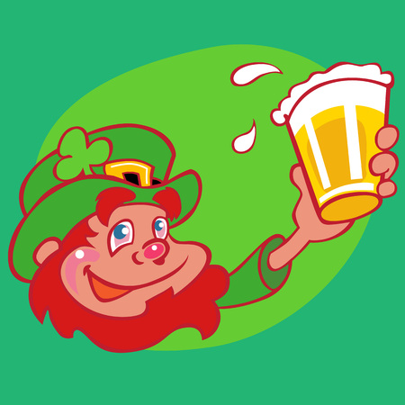 Happy drunk red=bearded leprechaun character raising a pint of beer celebrating the Irish culture. Sporting a green hat with a belt buckle and a shamrock.