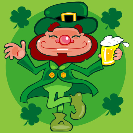 Toasted smiling Irish Leprechaun character holding a pint of beer dancing a jig. Clean clip-art cartoon style. Lots of green and shamrocks.