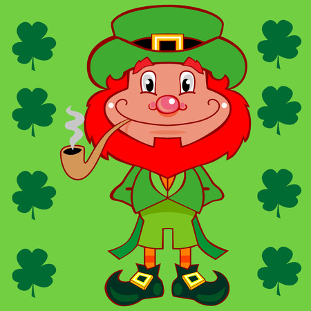 A skinny leprechaun character with a bright red beard a big curly smile and a long stem pipe looking forward. Lots of green. Hat, coat with tails, shoes, background, shamrocks.