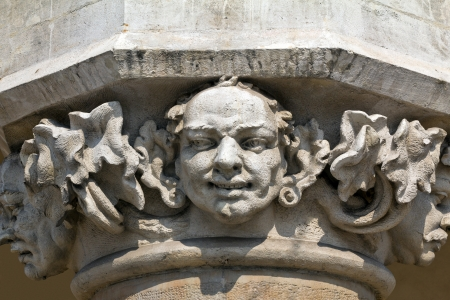 head of pillar designed by jan matejko on cloth hall on main market square in cracow in poland photo