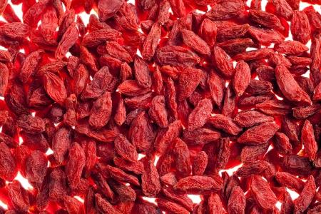 muito de goji berry vermelho isolado no fundo branco close up Banco de Imagens