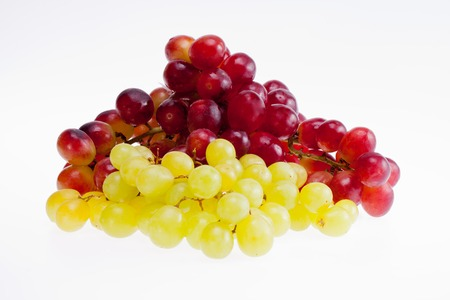 bunches: bunches  of red and green grapes isolated on white background