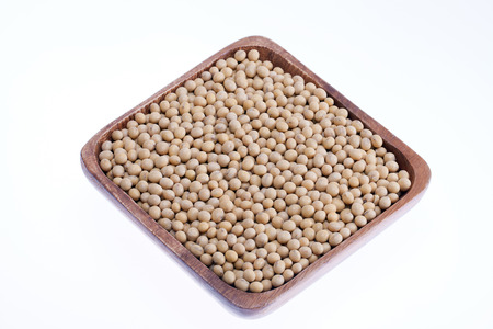 soja: bowl of soybeans isolated on white background Stock Photo
