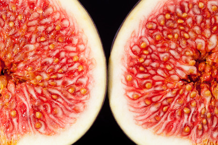 sectioned: sectioned fruit of fresh fig macro