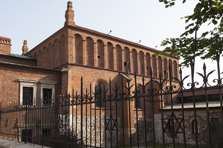 synagogues: jewish synagogue in the old district of Kazimierz Krakow on a wide street in poland