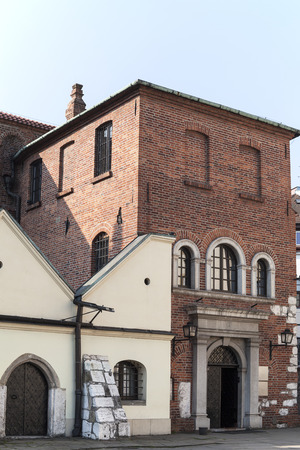 old synagogue in jewish district of krakow - kazimierz on szeroka street in poland Editorial
