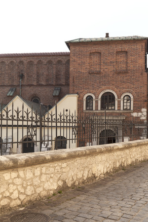 szeroka: old synagogue in jewish district of Krakow - Kazimierz on Szeroka street in Poland Stock Photo