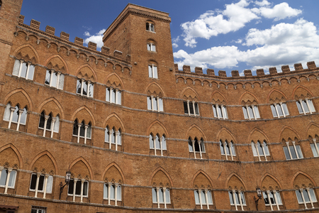 campo: medieval building on the Piazza del Campo in Siena,Tuscany in  Italy