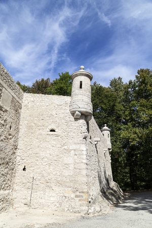 defensive: defensive wall of Pieskowa Skala Castle, near Cracow, Poland.