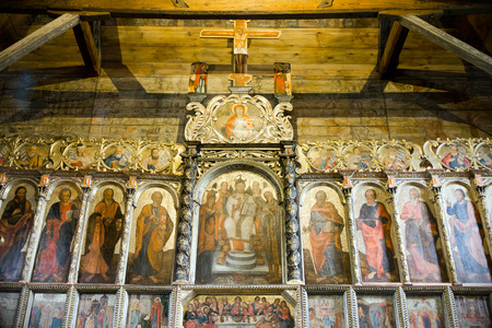 vespers: Iconostasis in the church Radru?, eastern Poland. Stock Photo