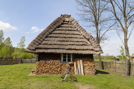 ethnographic: old traditional wooden polish cottage in open-air museum, Ethnographic Park, Kolbuszowa, Poland