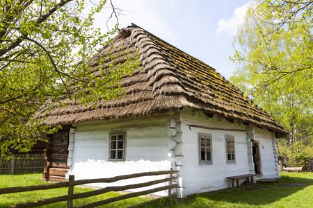 openair: old traditional wooden polish cottage in open-air museum, Ethnographic Park, Kolbuszowa, Poland