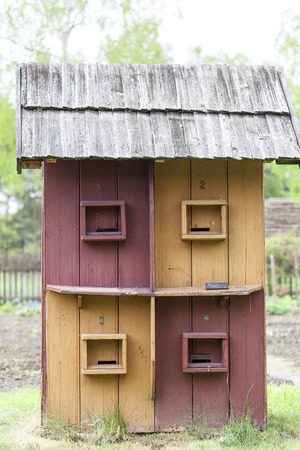 ethnographic: old multiposition beehive in open-air museum, Ethnographic Park, Kolbuszowa, Poland