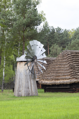 openair: Old Dutch windmill in the open-air museum, Ethnographic Park, Kolbuszowa, Poland Editorial